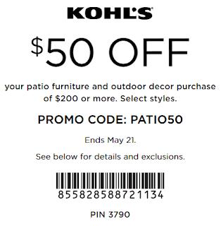 Kohls coupon $50 off $200 Patio Furniture Order
