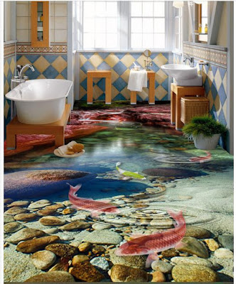 3d bathroom tiles for flooring art with underwater lifelike creatures and greenery with stones and pebbles in realistic underwater view