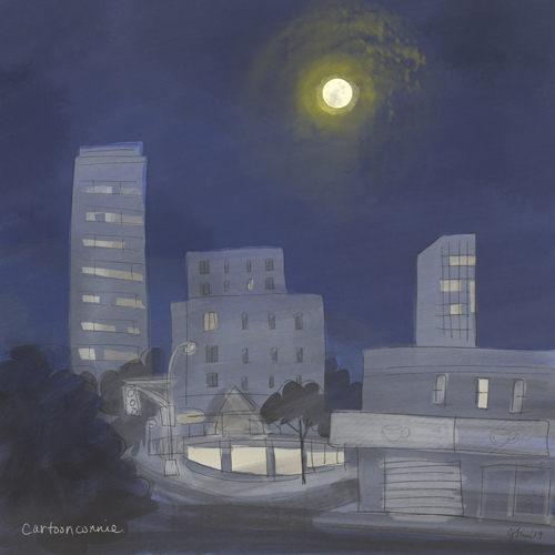 sketchbook, illustration, full moon, mid autumn festival, new york, cityscape, digital drawing
