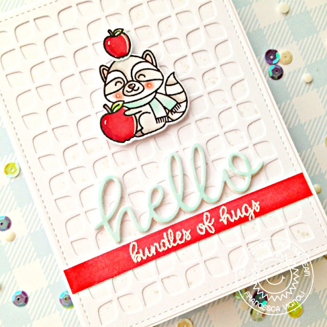 Sunny Studio Stamps: Frilly Frames Retro Petal Dies Woodsy Autumn Hello Word Die Hello Card by Franci Vignoli