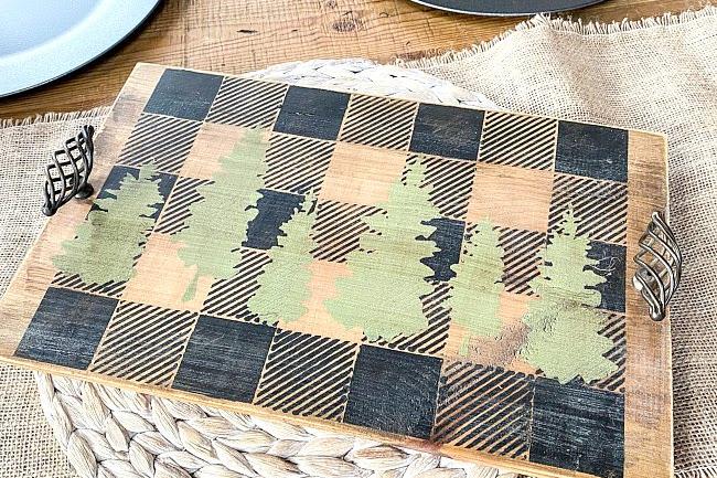 DIY Buffalo Check Cheese Board Tray