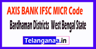 AXIS BANK IFSC MICR Code Bardhaman District West Bengal State