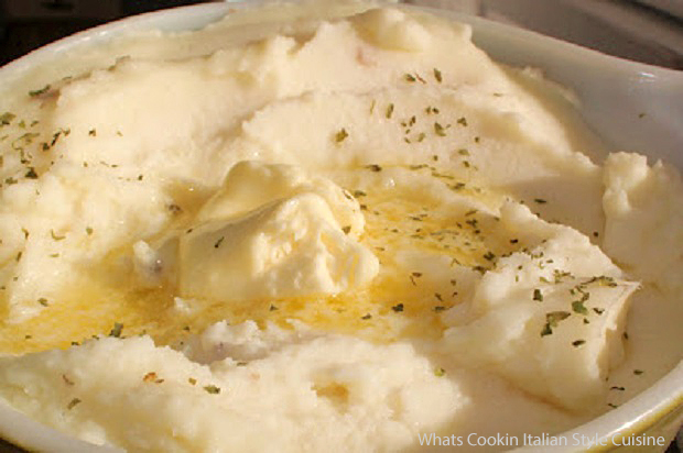 these are roasted garlic mashed potatoes drizzled with melted butter