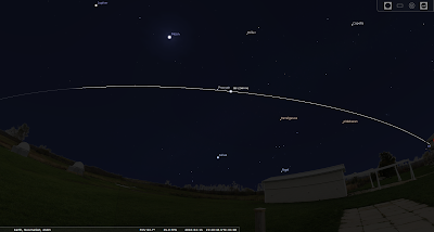 Stellarium screen snapshot showing ISS skirting Procyon