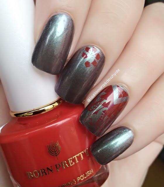 manciura en gris cromado con estampado geometrico en rojo