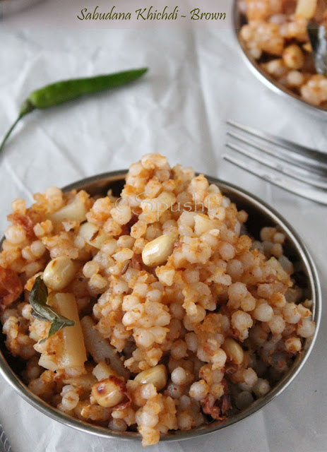 spusht | brown sabudana khichdi using red chili and peanut powder