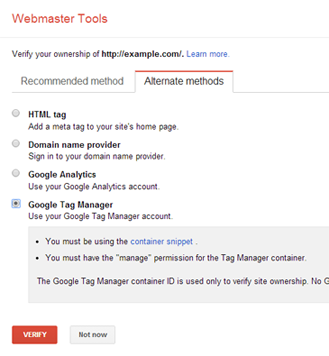 Google Tag Manager in Webmaster Tools