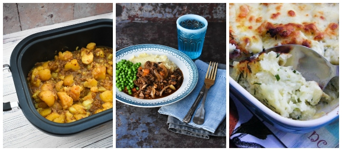 Slow cooker stovies, slow cooker savoury mince and rumbledethumps