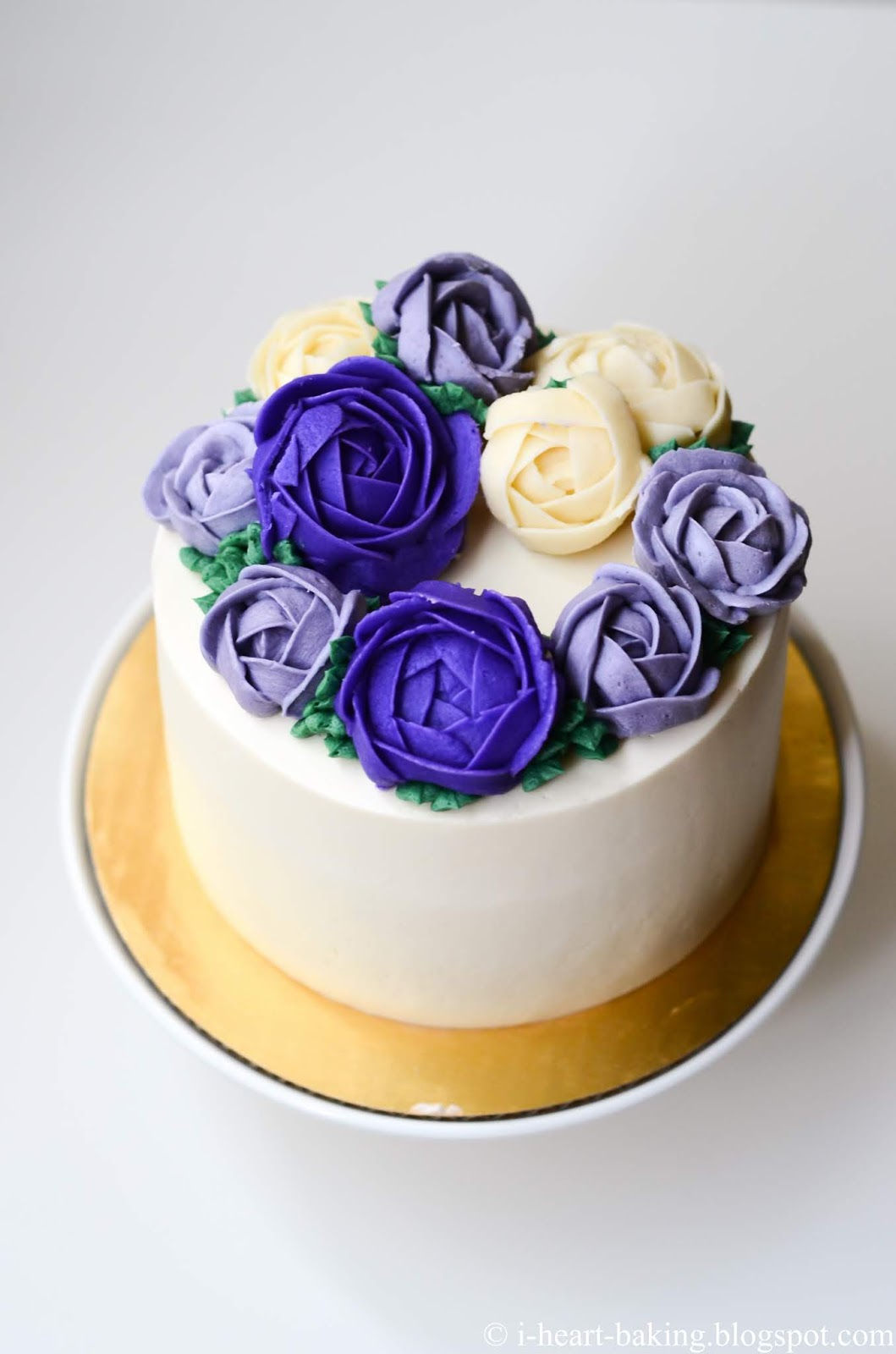 Excellent I Heart Baking Purple And White Floral Wreath Cake Funny Birthday Cards Online Elaedamsfinfo