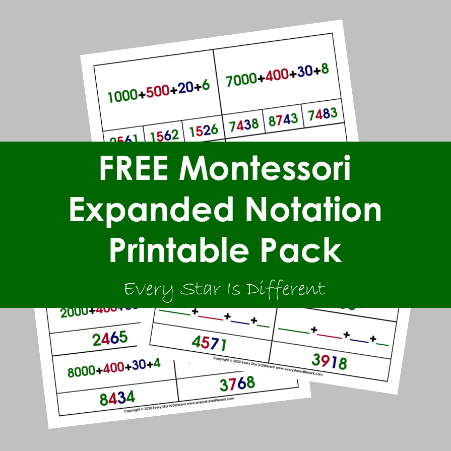 Expanded Notation Printable Pack