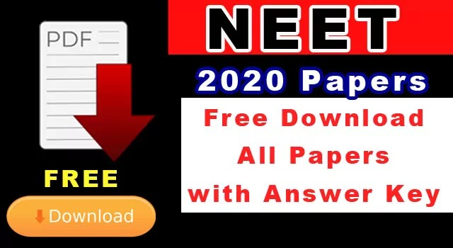 NEET 2020 Question paper all codes NTA official