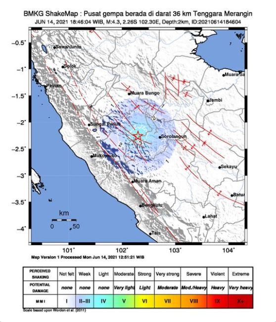 Gempa Berkekuatan 4,3 Magnitudo Guncang Merangin