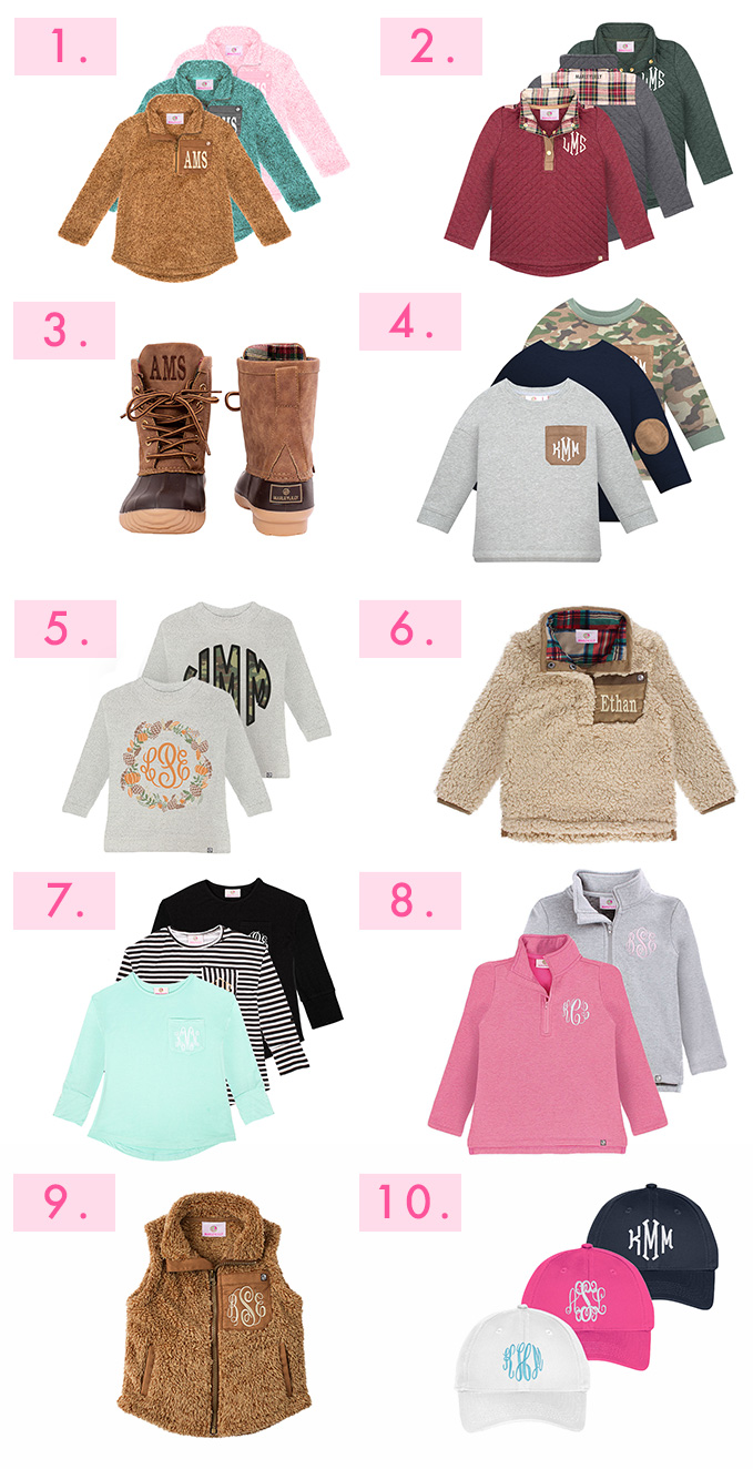 kids monogrammed clothing and accessories