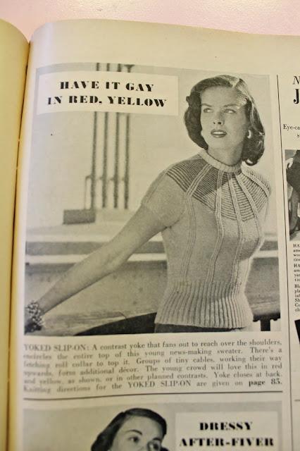 free 1940s yoked slip on sweater spider web inspired knitting pattern