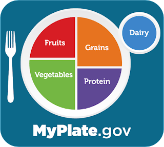 Sample portion sizes of a dinner plate on a blue placemat