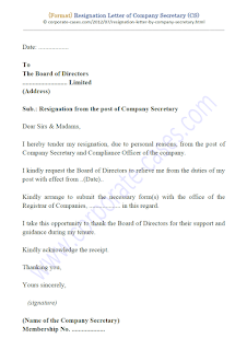 resignation letter of company secretary under companies act 2013