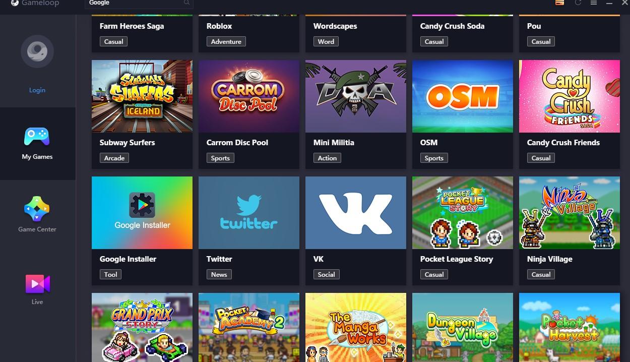 install google di Gameloop