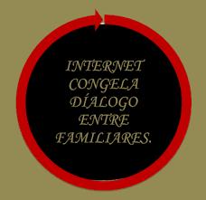 A imagem diz:internet congela dialogo entre familiares.
