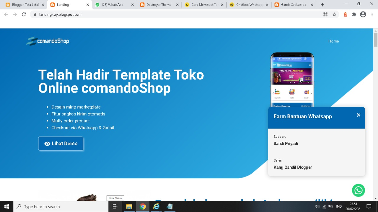 Template Landing Page Blogger