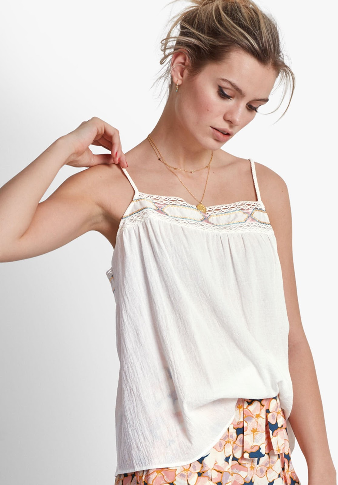 hush white embroidered cami top