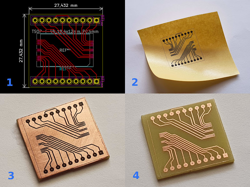 The process of making a PCB for the TSOP48 NAND flash