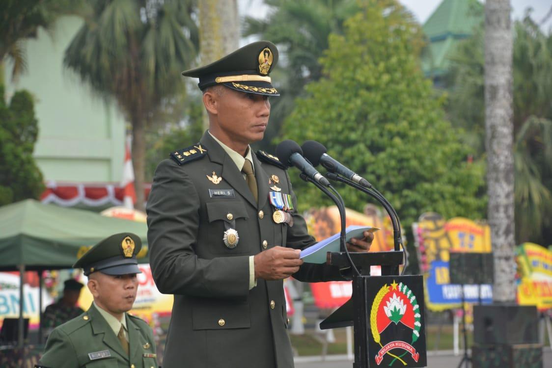 Kasrem 071/Wk Pimpin Upacara HUT ke-74 TNI