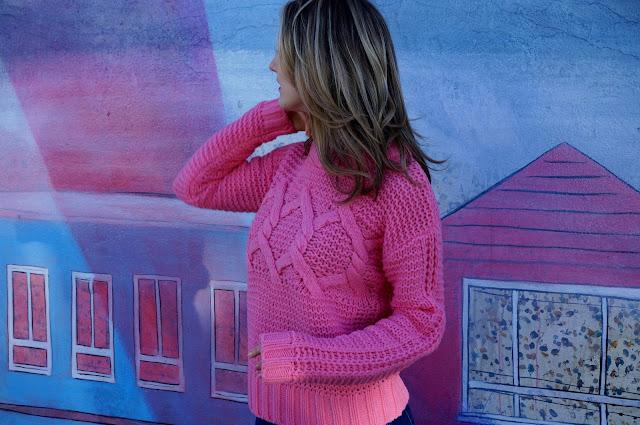 Sunset Mural - San Francisco - Pink Sweater - greysuede.com