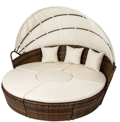 TecTake Aluminium Sun isle Island Rattan Day Bed Sun Canopy , Round Outdoor Daybeds UK, Outdoor Daybeds UK, Daybeds UK, Outdoor Daybeds at Amazon.co.uk, Amazon.co.uk, Best Outdoor Daybeds, Outdoor Furniture, Quality Outdoor Daybeds,