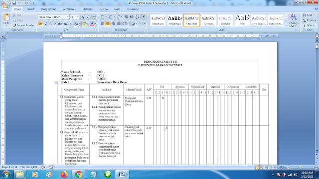 Contoh Promes PJOK Kelas 4 SD Semester 1 Kurikulum 2013 Revisi Terbaru