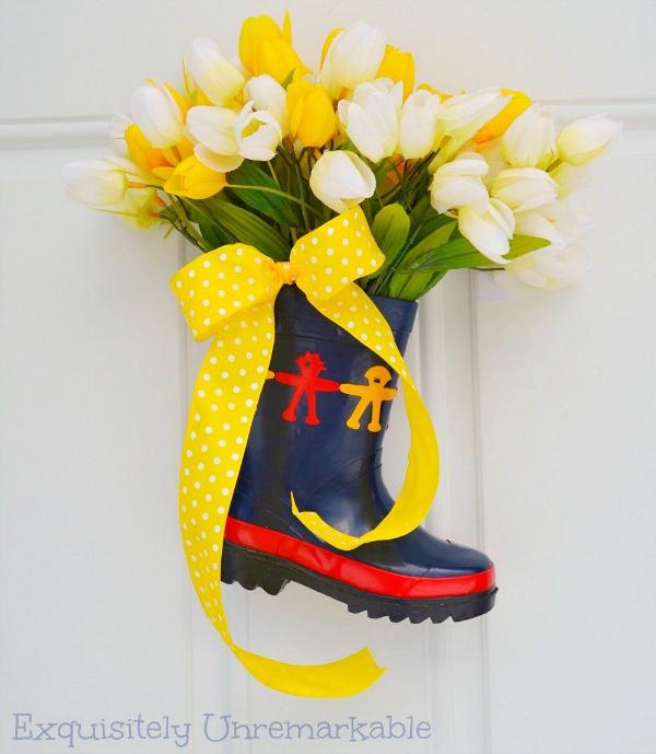 Yellow Tulips In A Rain Boot