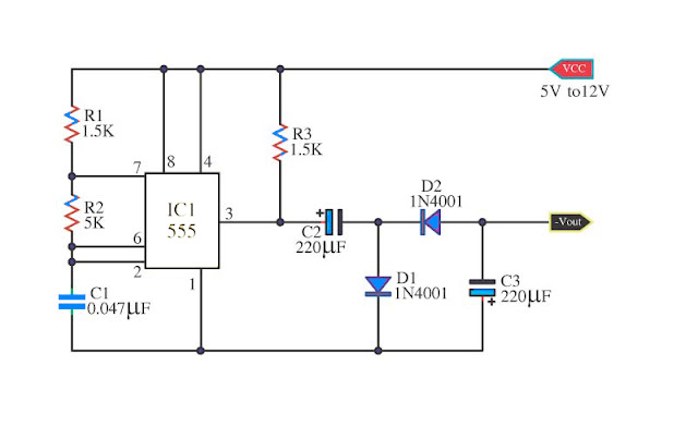 IC555 Negative supply voltage low current