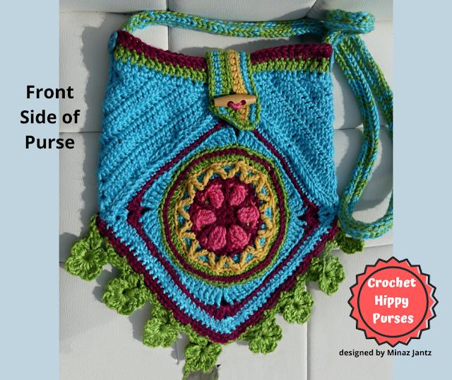 FRONT VIEW Blue Crochet Hippy Purse designed by Minaz Jantz