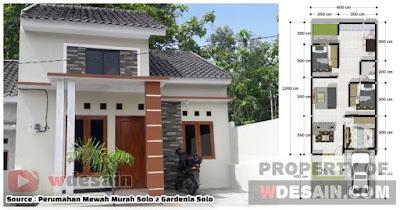 Desain rumah ukuran 6x12 dengan 3 kamar