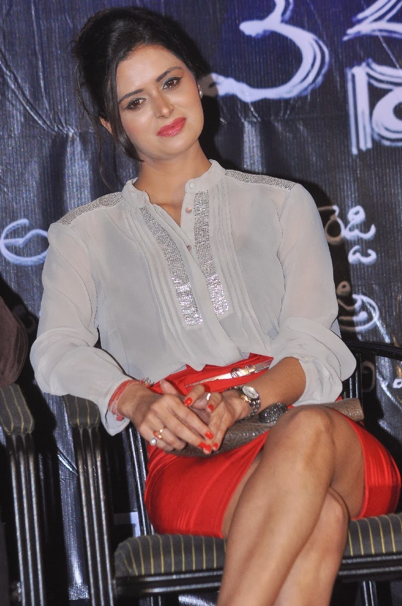 Meenakshi Dixit In Red Mini Skirt Dashing At The Press Conference