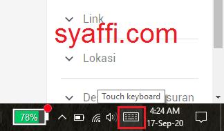 18. Pilih dan Klik kiri pada Touch Keyboard syaffi com