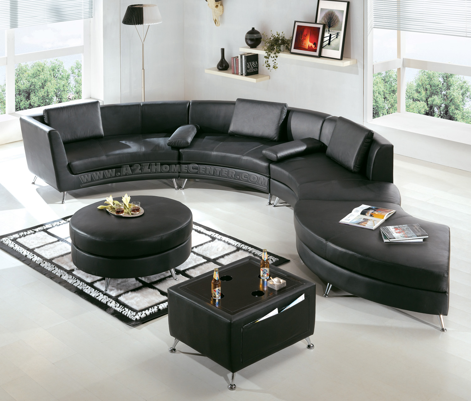 Black Leather Sofa Design Ideas Sala Set Office Furniture Modular A Trend