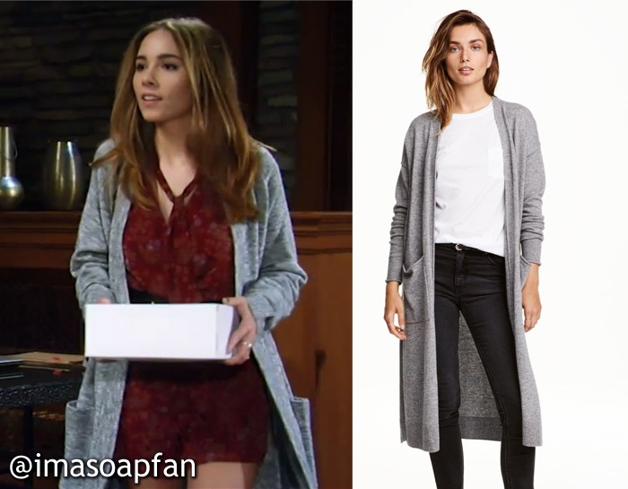 Molly Lansing, Haley Pullos, General Hospital, GH, Long Grey Cardigan