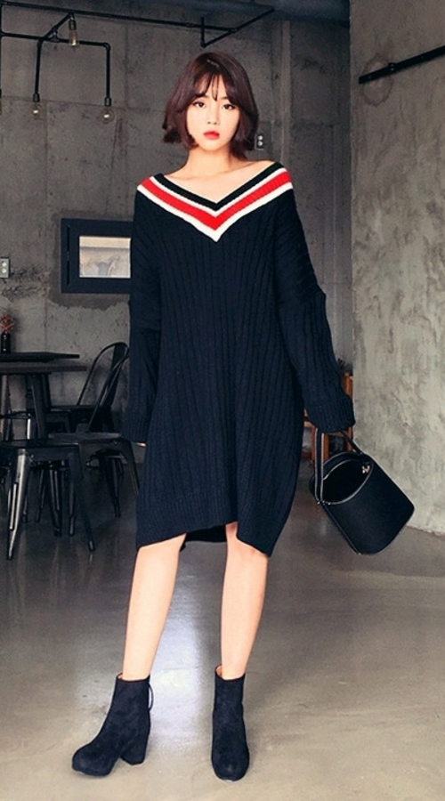 V-Neck Stripe Pullover Dress