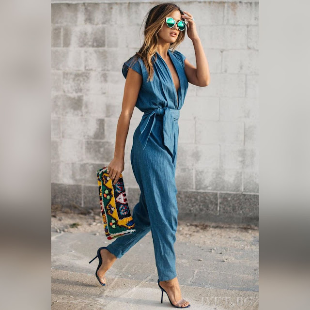 Κοντομάνικη μπλε ολόσωμη φόρμα RELADA
