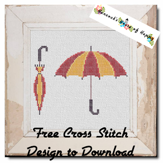 free umbrella cross stitch pattern. open and closed umbrella cross stitch
