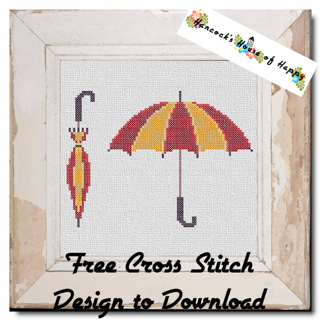 Cute Little Umbrella Cross Stitch Pattern Free to Download