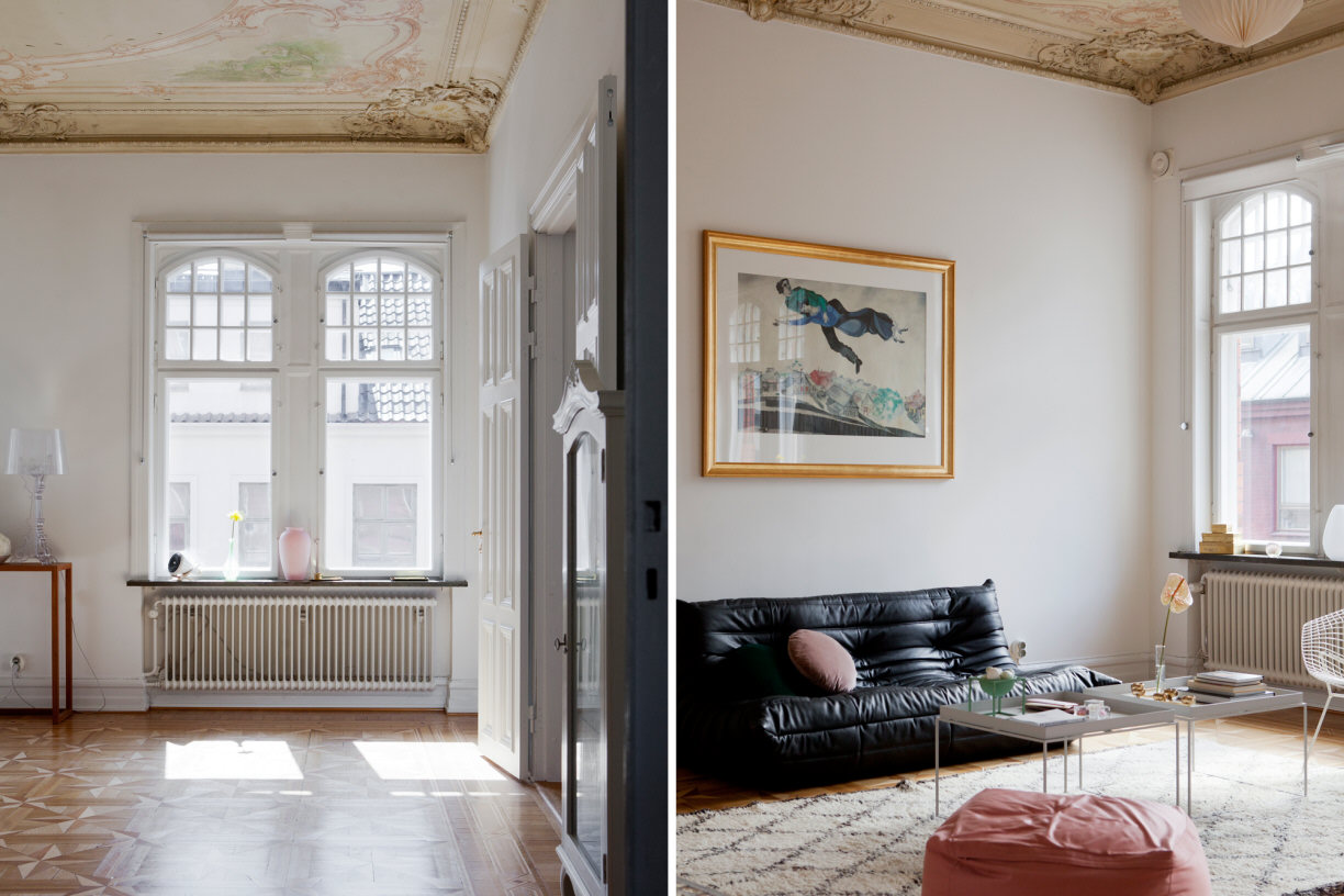 beautiul scandinavian apartment with luxury elements, mid century modern furniture, ornament ceiling