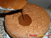 Pouring chocolate on the top of the cake