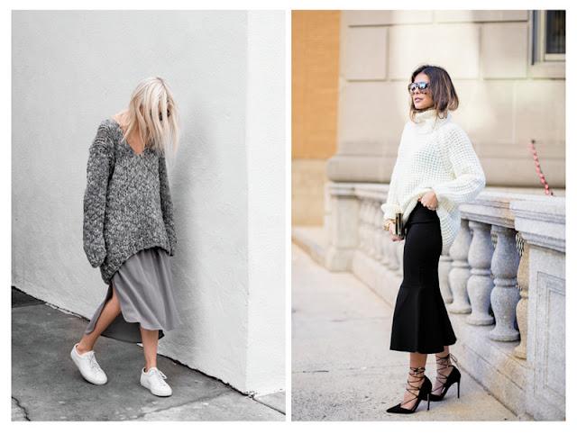 Образы со свитером оверсайз и юбкой с улицы
