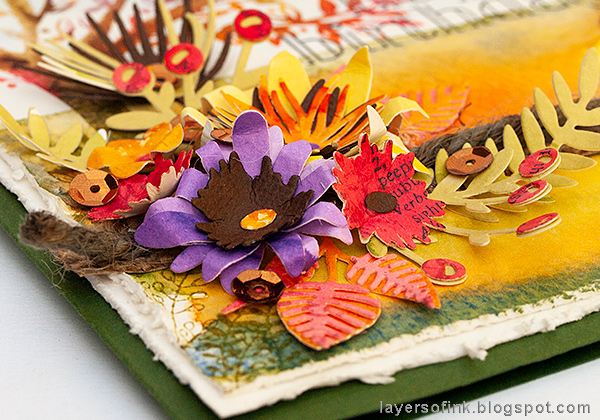 Layers of ink - Autumn Tree with Dimensional Flowers Tutorial by Anna-Karin Evaldsson with Tim Holtz Sizzix Funky Floral 3 dimensional flowers.
