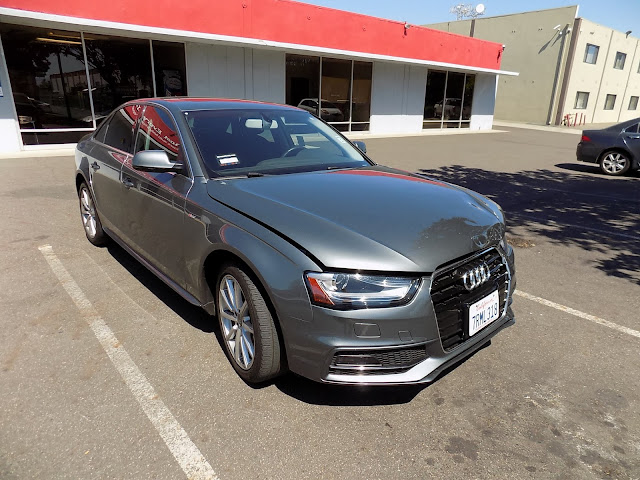2016 Audi A4 with front end damage before repairs at Almost Everything Auto Body.