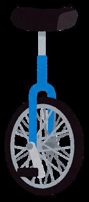 一輪車のイラスト(青)