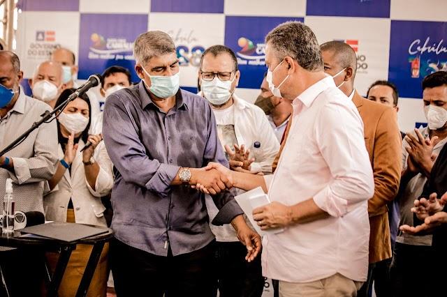 Governador Rui Costa entrega recuperação de 50 km da BA-001, equipamentos para hospital e é homenageado pela Câmara Municipal em Santa Cruz Cabrália
