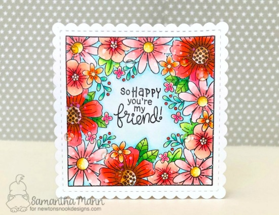Square Flower Card by Samantha Mann| Floral Fringe Stamp Set and Frames Squared Die Set by Newton's Nook Designs #newtonsnook #handmade