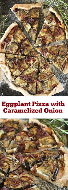 Hearty Eggplant Pizza with Caramelized Onion #eggplant #pizza #easypizza #dinner #hearty #vegan #whole30